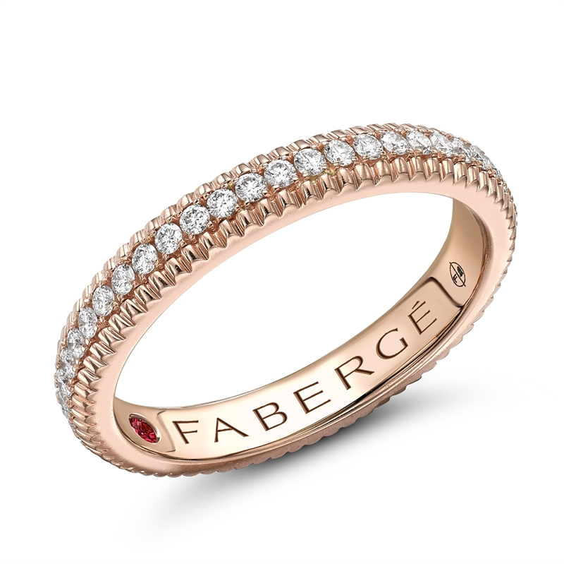 Rose Gold, Diamond and Ruby Fluted Engagement Ring | Fabergé