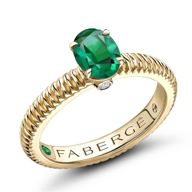 Yellow Gold Emerald Fluted Ring | Fabergé