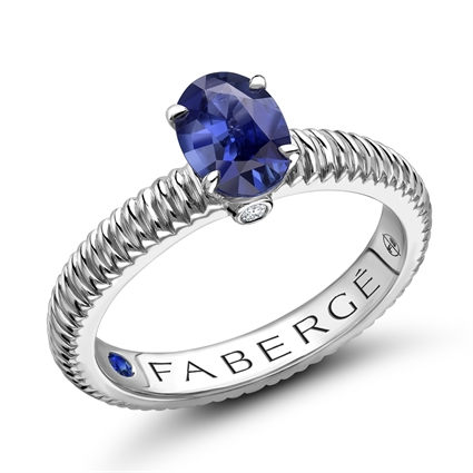 White Gold Blue Sapphire Fluted Ring I Fabergé
