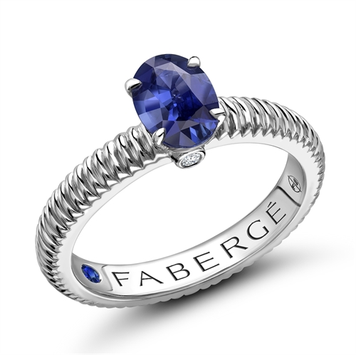 18K White Gold Oval Blue Sapphire Fluted Ring