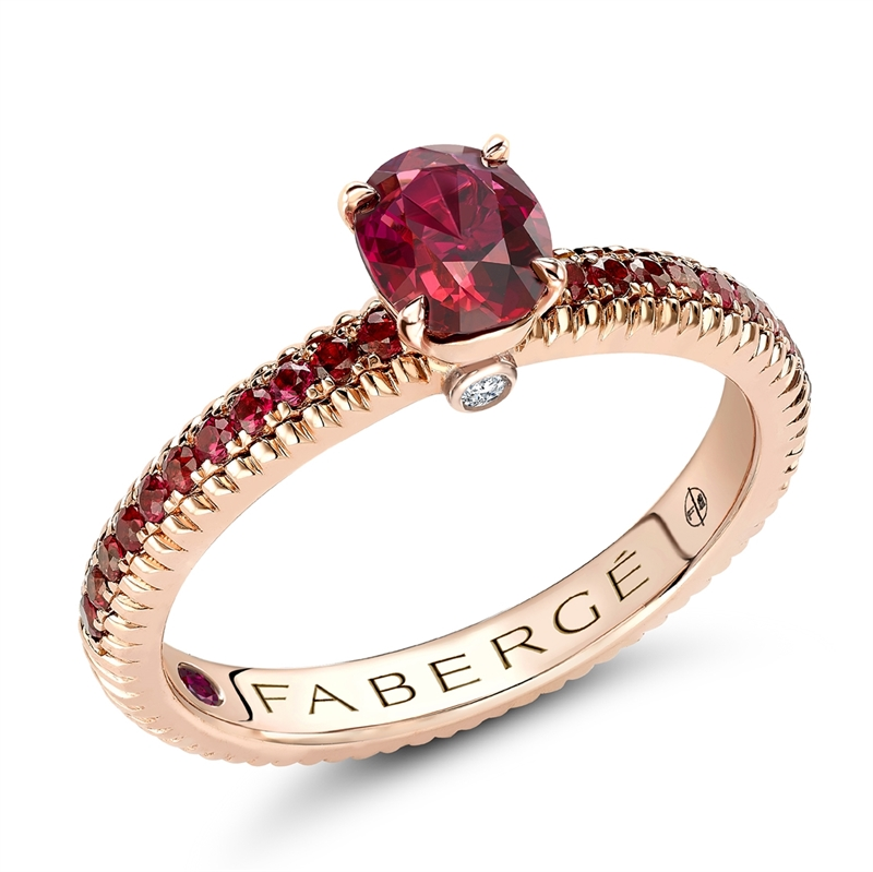 Rose Gold Ruby Fluted Ring with Ruby Shoulders | Fabergé
