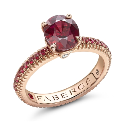 Rose Gold Ruby Fluted Ring with Ruby Shoulders I Fabergé