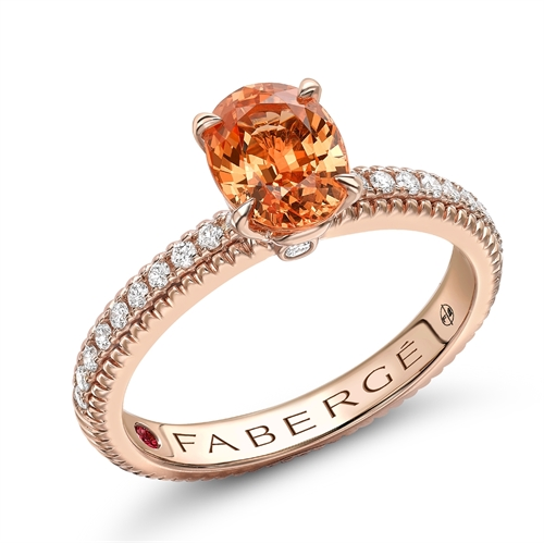 18K Rose Gold Oval Spessartite Engagement Ring With Diamond Set Shoulders