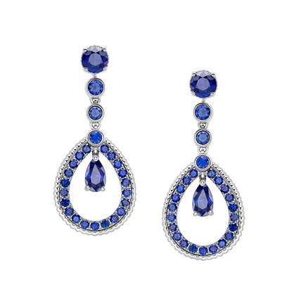 White Gold Blue Sapphire Teardrop Earrings | Fabergé