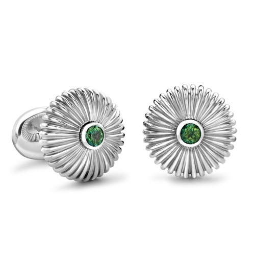 Domed Fluted Silver Cufflinks with Green Topaz