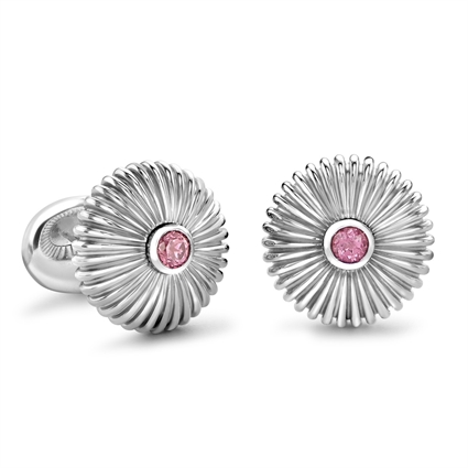 Domed Fluted Sterling Silver Cufflinks With Rhodochrosite