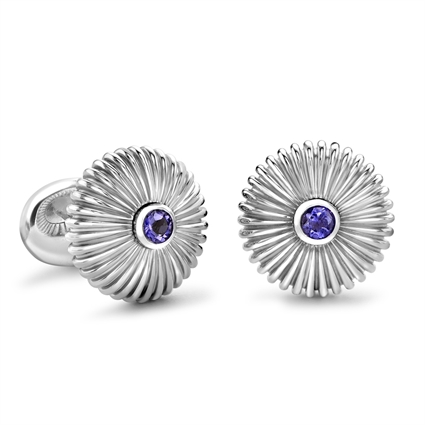 Domed Fluted Sterling Silver Cufflinks with Iolite