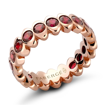 Rose Gold Ruby Wide Fluted Eternity Ring
