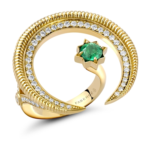 18k Yellow Gold Emerald and Diamond Hilal Crescent Ring with Split Shank