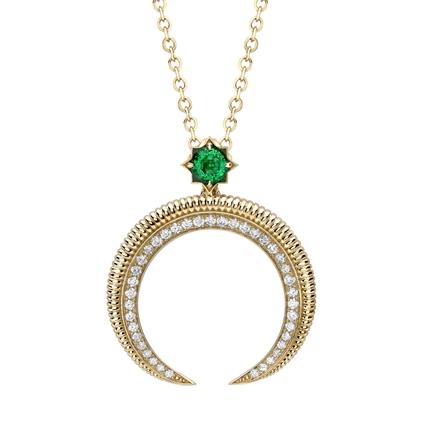 Hilal Yellow Gold Emerald & Diamond Pendant | Fabergé