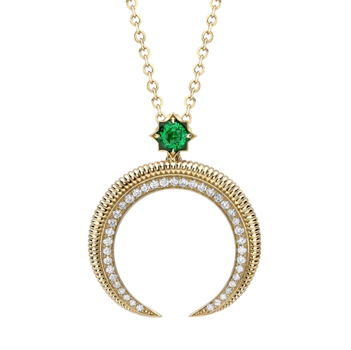 18k Yellow gold Emerald and Diamond Hilal Crescent Pendant