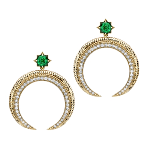 18k Yellow Gold Emerald and Diamond Hilal Crescent Earrings
