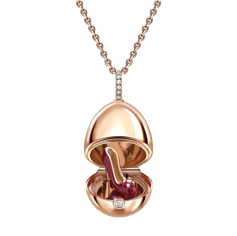 Rose Gold Red Lacquer & Ruby Set Shoe Surprise Locket | Fabergé