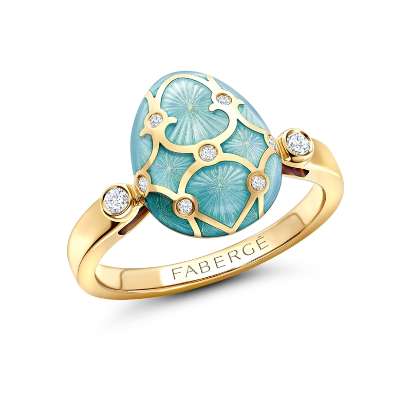 Yellow Gold Diamond & Turquoise Guilloché Enamel Egg Ring | Fabergé