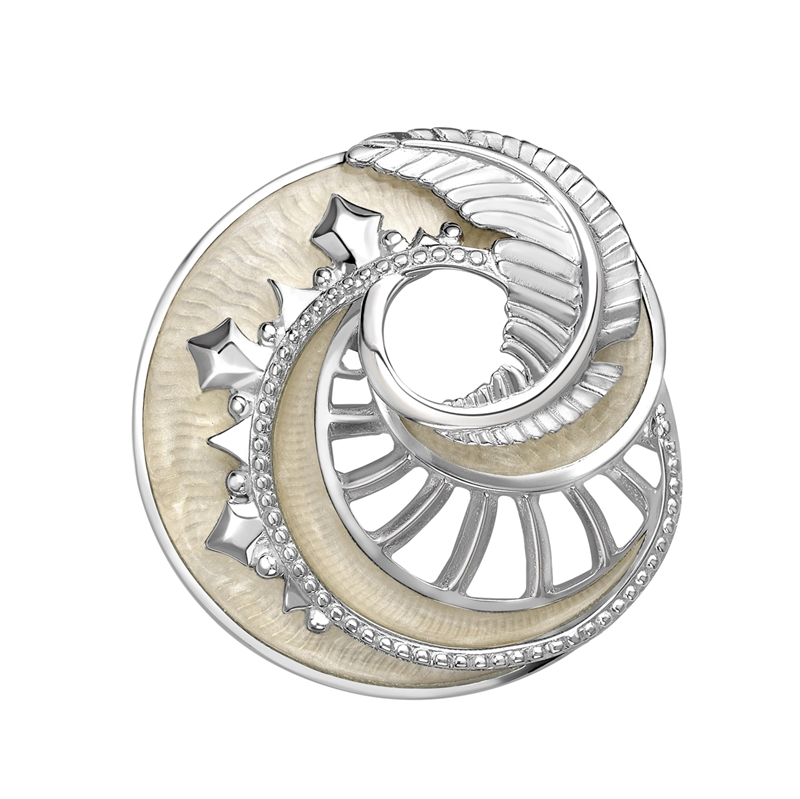Mystére Sterling Silver Pearl Grey Lacquer Pendant Brooch | Fabergé