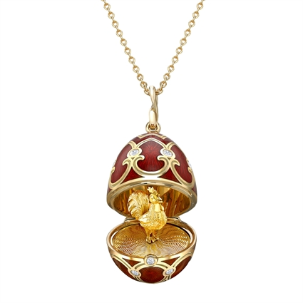 Yellow Gold Diamond & Red Guilloché Enamel Year Of The Rooster Surprise Locket | Fabergé