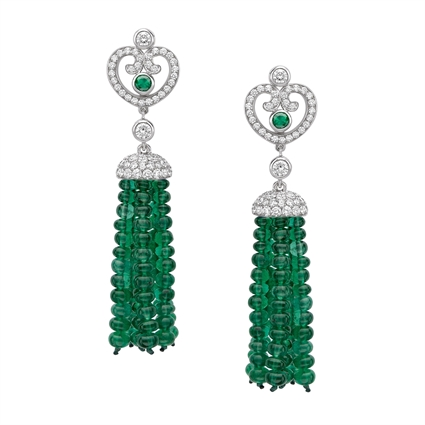 Impératrice White Gold & Emerald Tassel Earrings I Fabergé