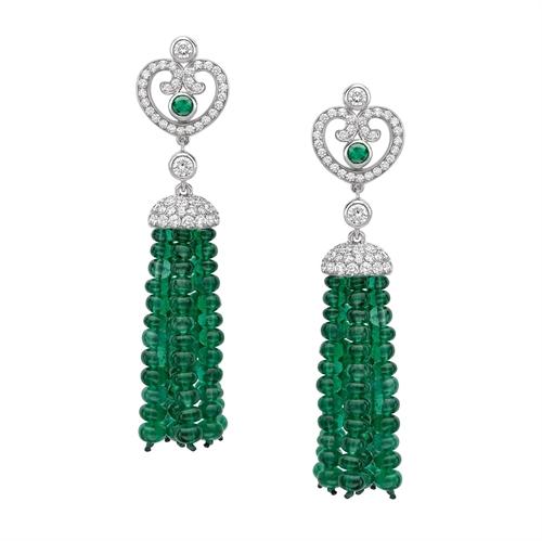 Impératrice White Gold & Emerald Tassel Earrings I Fabergé