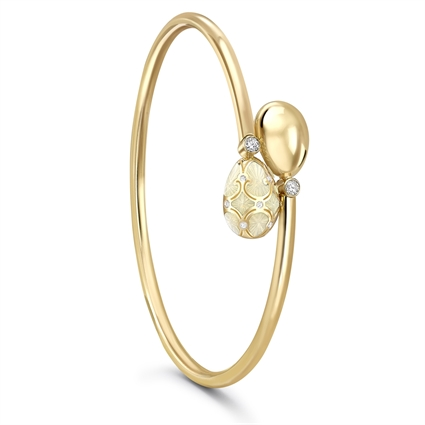 Yellow Gold Diamond & White Guilloché Enamel Crossover Bracelet | Fabergé
