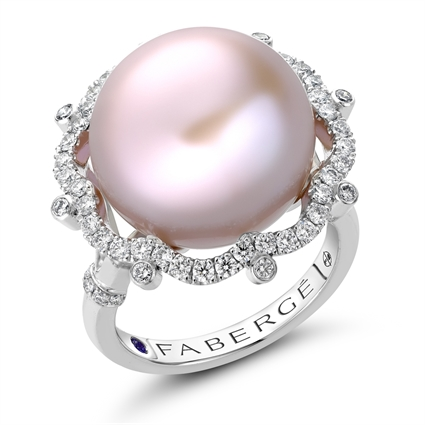 Bijoux Platinum Pearl & Diamond Ring I Fabergé