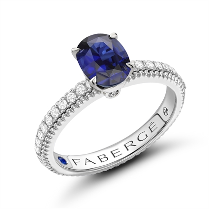 White Gold Blue Sapphire Fluted Ring with Diamond Shoulders I Fabergé