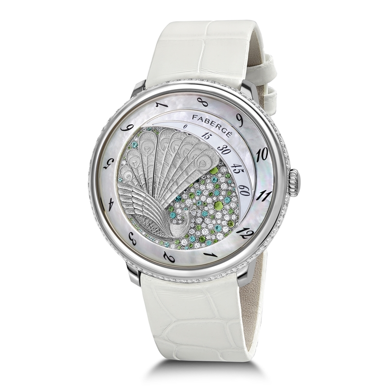 Platinum Compliquée Ladies' Peacock Watch | Fabergé
