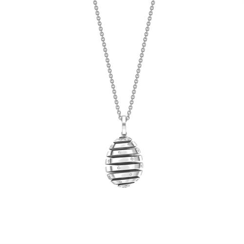 Fabergé Essence 螺旋镶钻蛋形白金吊坠