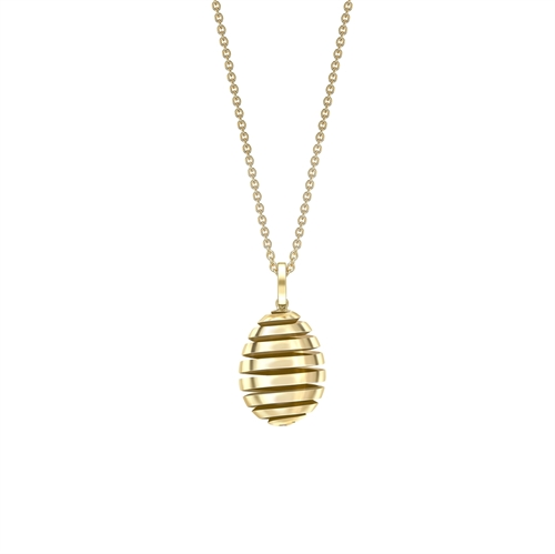 Fabergé Essence Yellow Gold Spiral Egg Pendant