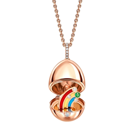 Rose Gold Lacquered Rainbow Surprise Locket