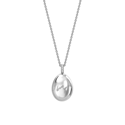 White Gold I Love You Egg Pendant | Fabergé