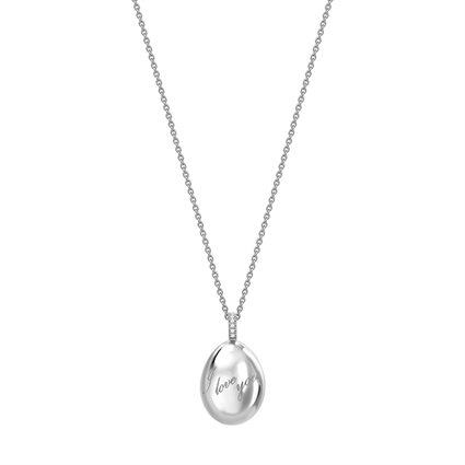 Fabergé Egg Pendant - Simple I Love You White Gold Pendant
