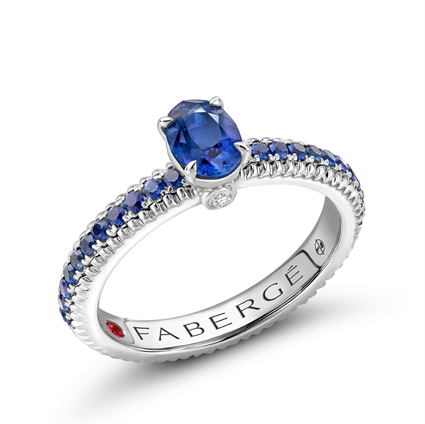 White Gold Blue Sapphire Fluted Ring with Blue Sapphire Shoulders | Fabergé