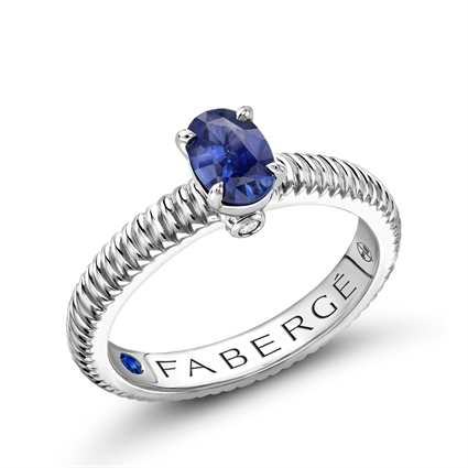 White Gold Blue Sapphire Fluted Ring | Fabergé
