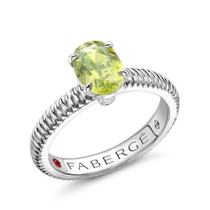 Sterling Silver Peridot Fluted Ring | Fabergé