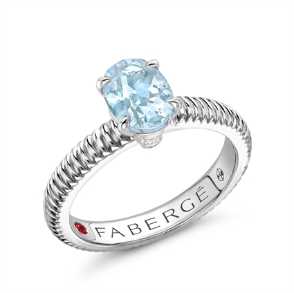 Sterling Silver Oval Aquamarine Fluted Ring
