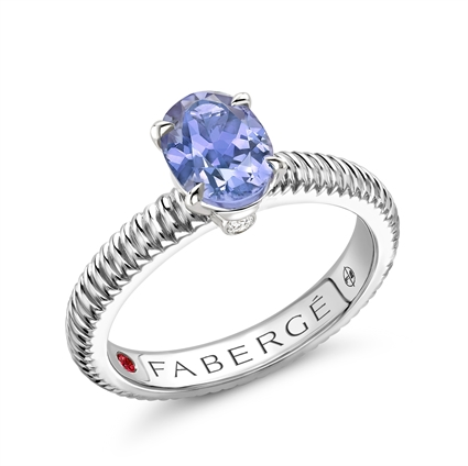 Sterling Silver Tanzanite Fluted Ring | Fabergé