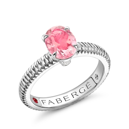 Sterling Silver Oval Pink Tourmaline Futed Ring
