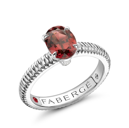 Sterling Silver Oval Rhodolite Garnet Fluted Ring