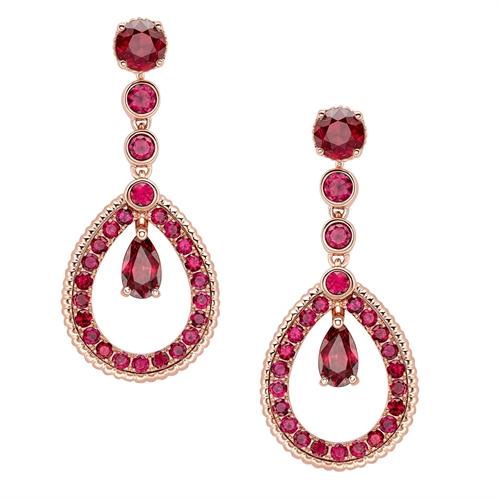 Rose Gold Ruby Teardrop Earrings | Fabergé