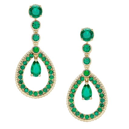 Yellow Gold Emerald Teardrop Earrings | Fabergé