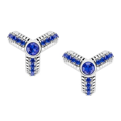 Trio White Gold Blue Sapphire Fluted Earrings