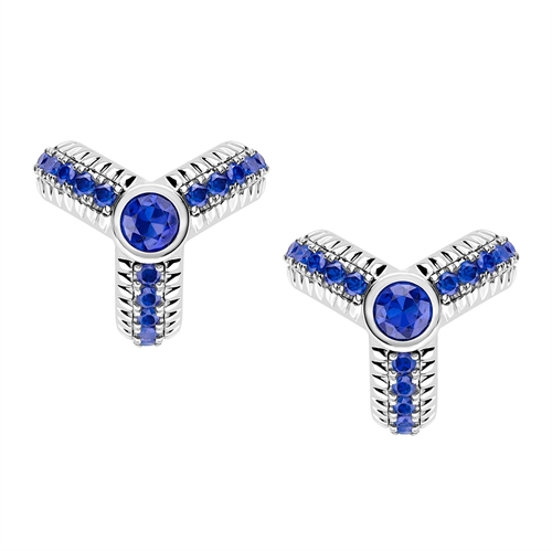 White Gold Blue Sapphire Fluted Stud Earrings | Fabergé