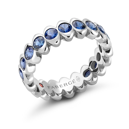White Gold Blue Sapphire Eternity Ring | Fabergé