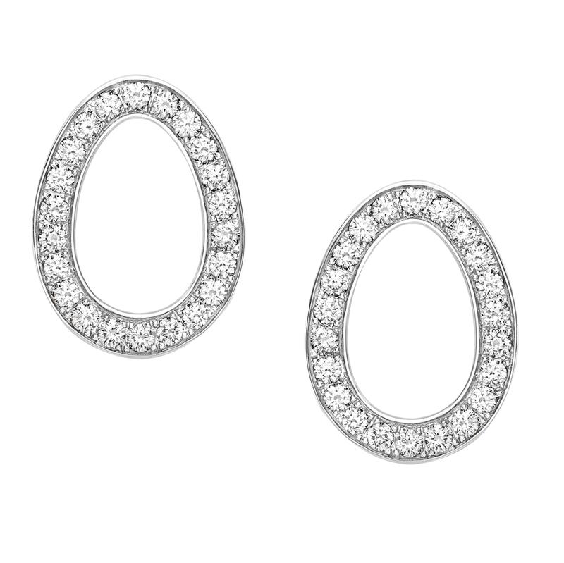 White Gold Diamond Egg Stud Earrings | Fabergé