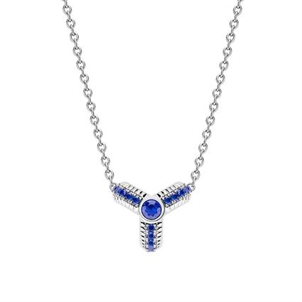 White Gold Blue Sapphire Fluted Pendant | Fabergé