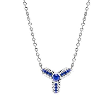 White Gold Blue Sapphire Fluted Pendant   Fabergé
