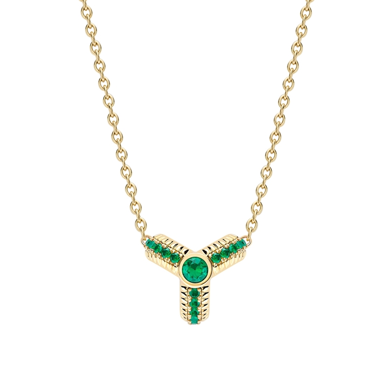 Trio Yellow Gold Emerald Fluted Pendant