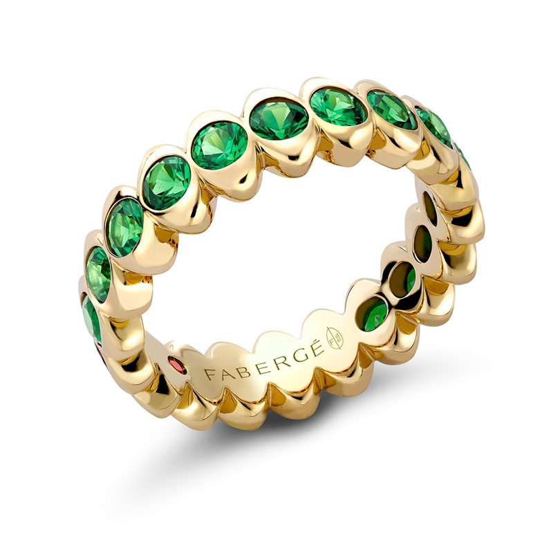 Fabergé Yellow Gold Tsavorite Wide Fluted Eternity Ring