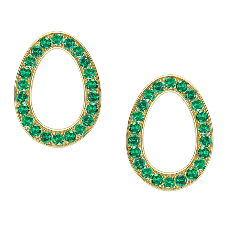 Yellow Gold Emerald Egg Stud Earrings | Fabergé