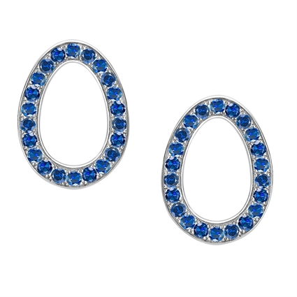 White Gold Blue Sapphire Egg Stud Earrings | Fabergé